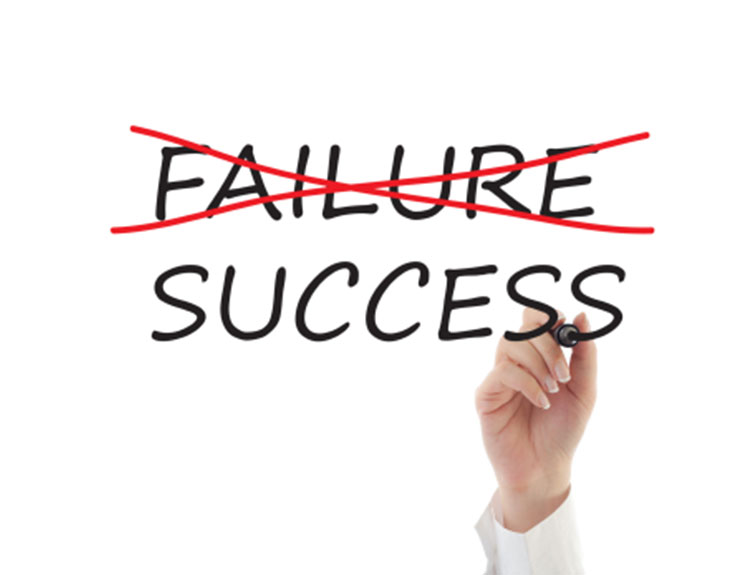 the word failure marked out and replaced with the word success