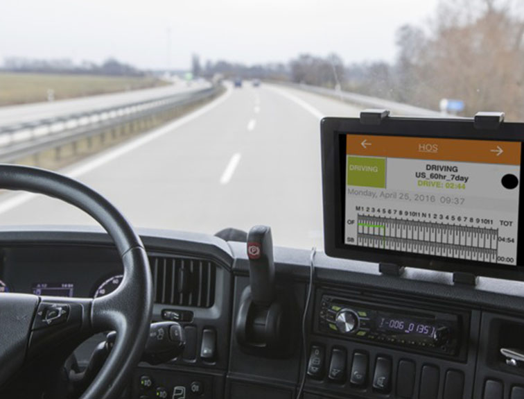 ELD system on dashboard of truck